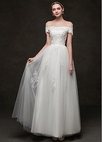 In Stock Gorgeous Tulle & Lace Jewel Neckline A-line Wedding Dresses