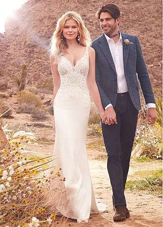 Fashionable Tulle & Acetate Satin V-neck Neckline Mermaid Wedding Dresses With Beaded Lace Appliques