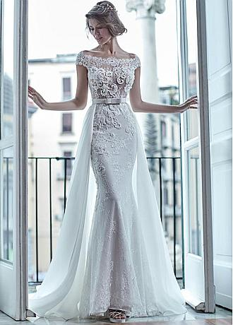Fashionable Tulle & Organza Satin Bateau Neckline 2 In 1 Wedding Dresses With Beaded Lace Appliques & Bowknot & Detachable Skirt