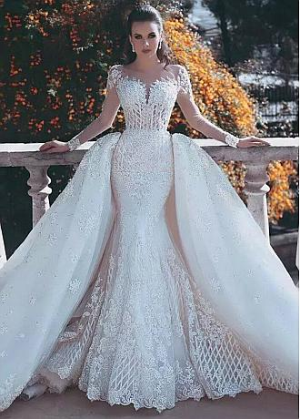 Junoesque Tulle Jewel Neckline 2 In 1 Wedding Dresses With Lace Appliques & Beadings