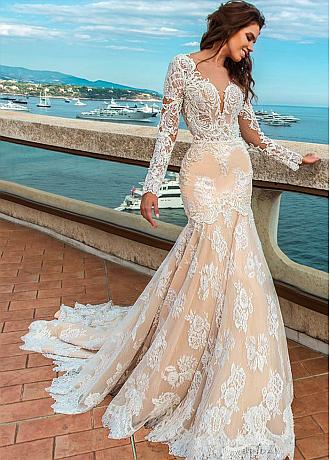 Glamorous Tulle Jewel Neckline Mermaid Wedding Dresses With Beadings & Lace Appliques