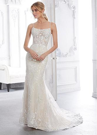 Romantic Tulle & Lace Square Neckline Mermaid Wedding Dress With Lace Appliques & Beadings