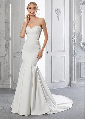 Modern Satin Sweetheart Neckline Mermaid Wedding Dresses With Lace Appliques