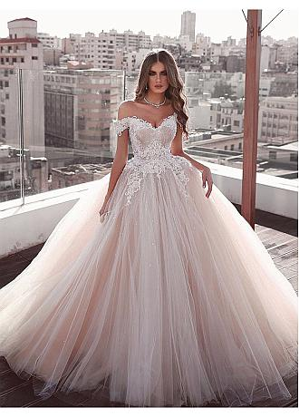 Eye-catching Tulle Off-the-shoulder Neckline Ball Gown Wedding Dresses With Lace Appliques & Beadings