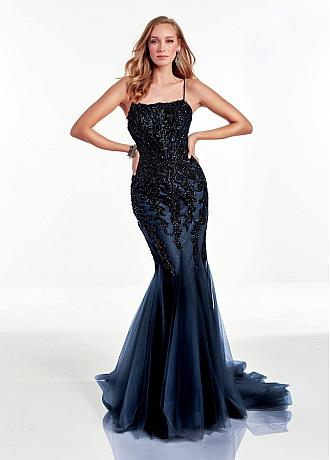 Chic Tulle & Sequins Tulle Square Neckline Floor-length Mermaid Prom Dress With Beadings