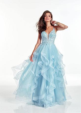 Alluring Sequin Tulle V-neck Neckline A-line Prom Dresses With Beaded Lace Appliques