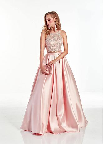 Fashionable Satin & Lace Halter Neckline A-line Prom Dress With Beadings