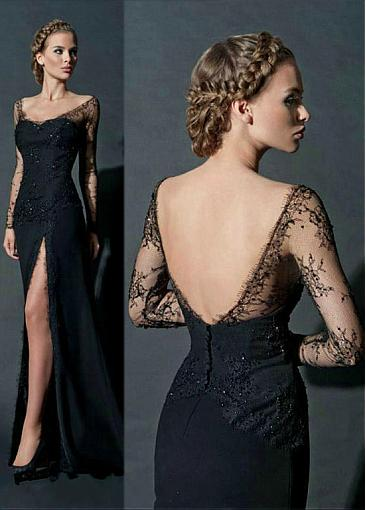 Sexy Satin & Lace Off-the-Shoulder Neckline Sheath Evening Dress with Rhinestones