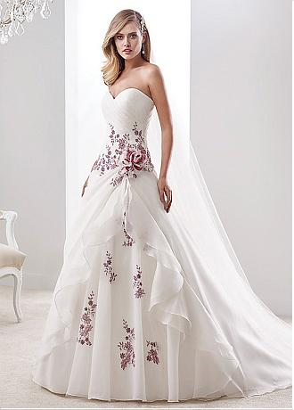 Glamorous Organza Sweetheart Neckline A-line Wedding Dresses With Lace Appliques