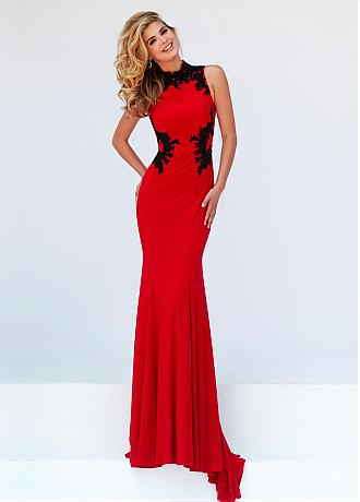 Fitted Chiffon & Tulle High Collar Formal Dresses With Beaded Lace Appliques