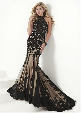 Charming Tulle & Satin Halter Neckline Mermaid Evening Dresses With Lace Appliques