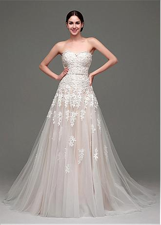 In Stock Amazing Tulle Sweetheart Neckline A-Line Wedding Dresses With Lace Appliques