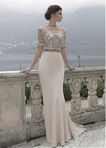 Glamorous Stretch Satin & Tulle Spaghetti Straps Sheath Evening Dresses With Embroidery & Beads