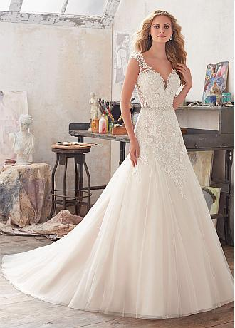 Marvelous Tulle & Organza V-Neck A-Line Wedding Dresses With Beaded Lace Appliques
