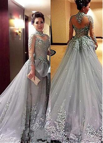 Fabulous Tulle High Collar Neckline Ball Gown Evening Dresses With Beaded Lace Appliques