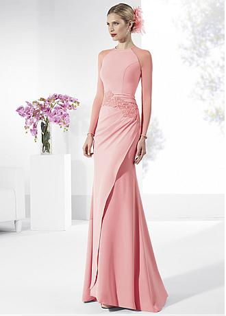 Wonderful Acetate Satin Jewel Neckline Illusion Long Sleeves Sheath Evening Dresses With Beaded Lace Appliques