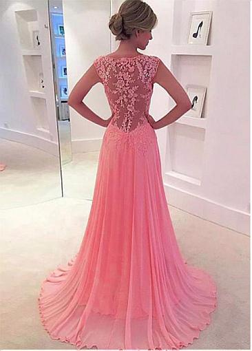 Elegant Tulle & Chiffon V-neck Neckline See-through A-Line Evening Dresses With Lace Appliques