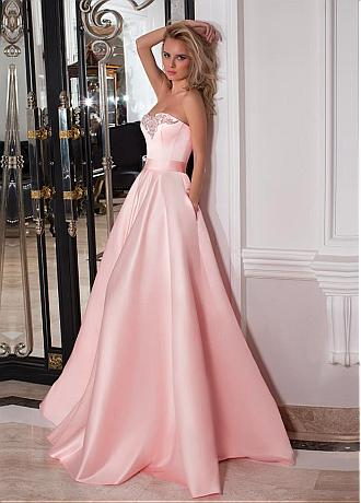 Fashion Satin Sweetheart Neckline A-line Prom Dresses With Belt & Beadings