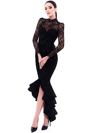 Chic Lace & Satin High Collar Neckline Cut-out Mermaid Evening Dresses With Beaded Lace Appliques