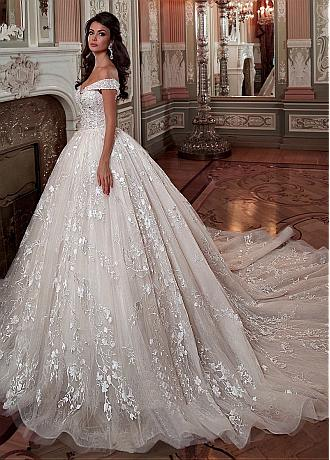 Fascinating Tulle & Lace Off-the-shoulder Neckline Ball Gown Wedding Dress With Lace Appliques & Beadings
