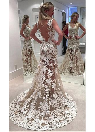 Delicate Tulle V-neck Neckline See-through Mermaid Wedding Dress With Lace Appliques
