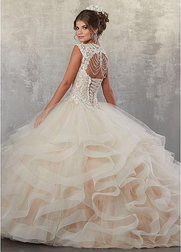 Wonderful Tulle V-neck Neckline Cut-out Ball Gown Quinceanera Dress With Lace Appliques & Beadings