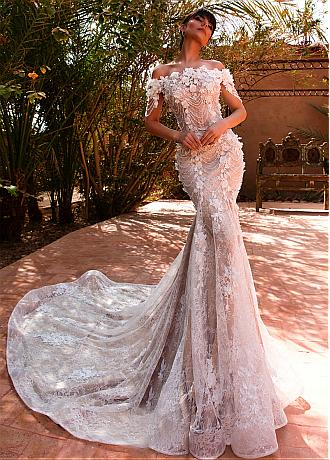 Amazing Tulle & Lace Off-the-shoulder Neckline Mermaid Wedding Dress With Lace Appliques & 3D Flowers & Beadings