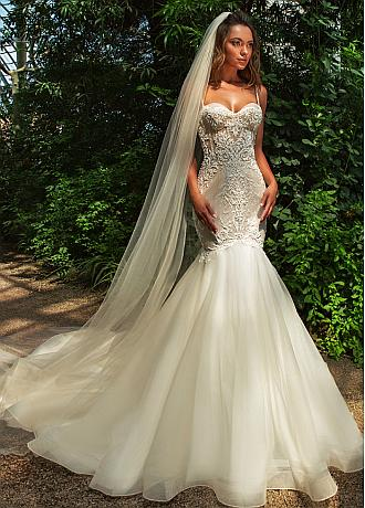Amazing Tulle Spaghetti Straps Neckline Mermaid Wedding Dress With Beaded Lace Appliques