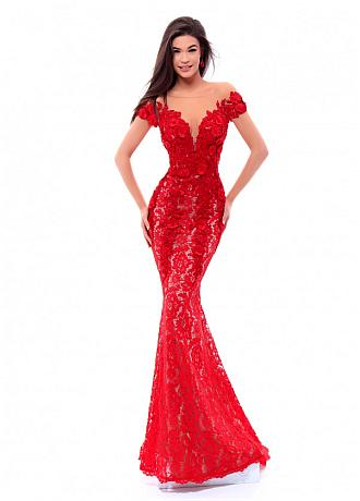 Fascinating Lace Bateau Neckline Cap Sleeves Sheath / Column Prom Dress With Lace Appliques & 3D Lace Flowers & Beadings