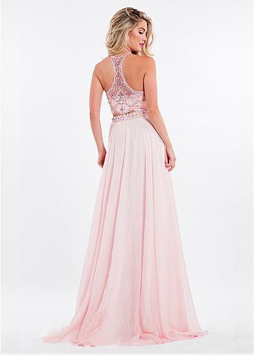 Fashionable Chiffon Halter Neckline Two-piece A-line Prom Dress With Beadings
