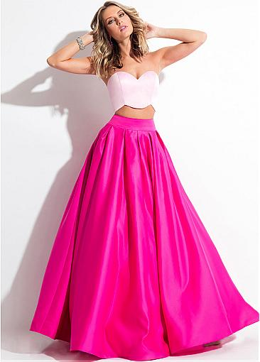 Honorable Satin Sweetheart Neckline Two-piece A-line Prom Dress With Pockets