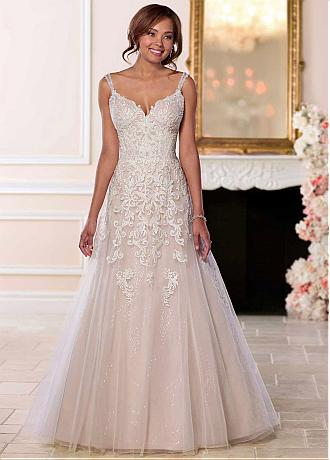 Fascinating Tulle V-neck Neckline Natural Waistline A-line Wedding Dress With Lace Appliques & Beadings
