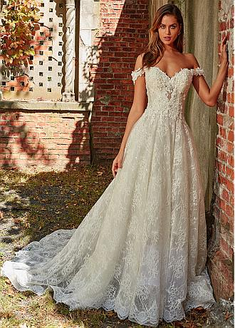 Fantastic Tulle & Lace Off-the-shoulder Neckline A-line Wedding Dress With Beaded Lace Appliques
