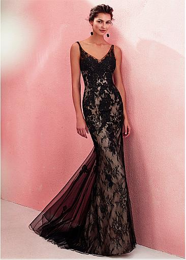Sophisticated Tulle & Lace V-neck Neckline Sheath / Column Evening Dress With Lace Appliques & Beadings