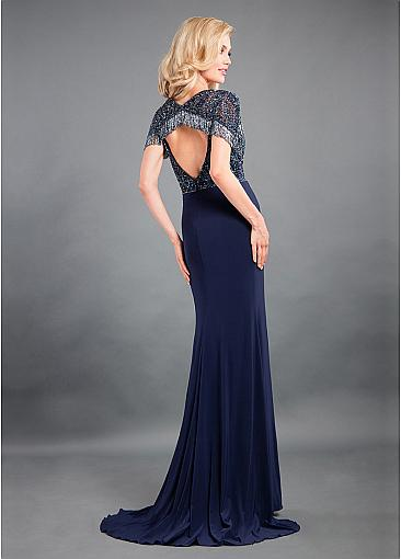 Fashionable Spandex V-neck Neckline Cut-out Sheath/Column Evening Dress With Beadings