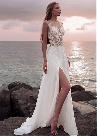 Pretty Tulle & Chiffon Bateau Neckline See-through Bodice A-line Wedding Dress With Beaded Lace Appliques