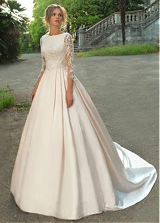 Charming Tulle & Satin Bateau Neckline A-line Wedding Dress With Beaded Lace Appliques