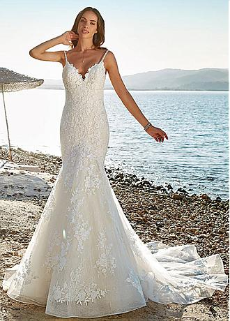 Gorgeous Tulle & Lace Spaghetti Straps Neckline Mermaid Wedding Dress With Beadings & Lace Appliques