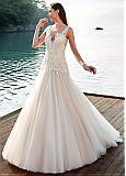 Fascinating Tulle V-neck Neckline Dropped Waistline A-line Wedding Dress With Lace Appliques & Beadings
