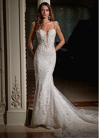 Amazing Tulle & Lace Spaghetti Straps Neckline Mermaid Wedding Dress With Beadings & Lace Appliques