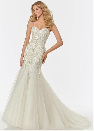Brilliant Tulle Sweetheart Neckline Mermaid Wedding Dress With Beaded Embroidery