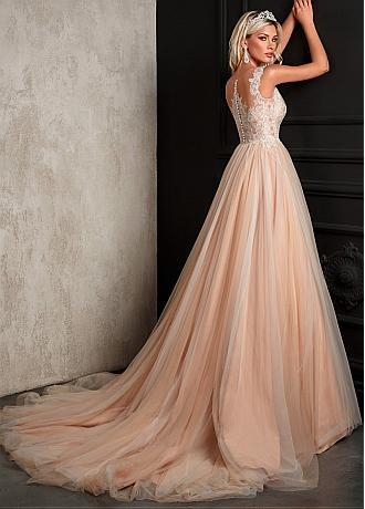 Fascinating Tulle Jewel Neckline A-line Wedding Dress With Lace Appliques & Sequins
