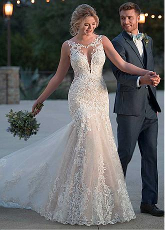 Gorgeous Tulle & Lace Scoop Neckline Mermaid Wedding Dress With Lace Appliques