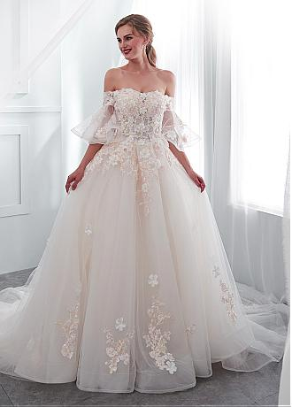 In Stock Romantic Tulle Off-the-shoulder Neckline A-line Wedding Dress With Lace Appliques & 3D Flowers & Beadings