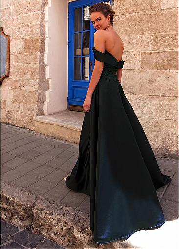 Fabulous Satin Off-the-shoulder Neckline Floor-length A-line Prom Dress With Rhinestones