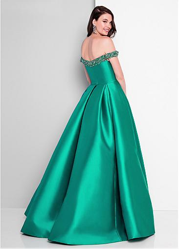 Chic Tulle & Satin Off-the-shoulder Neckline Floor-length A-line Prom Dress With Beadings & Belt