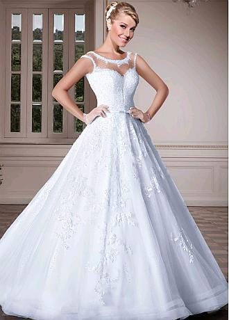Attractive Tulle Scoop Neckline A-line Wedding Dresses With Lace Appliques & Beadings