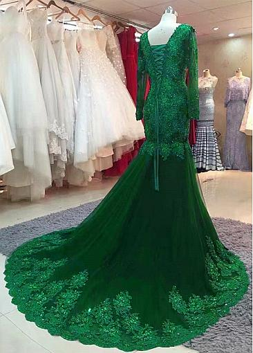 Beautiful Tulle V-neck Neckline Floor-length Mermaid Evening Dresses With Beaded Lace Appliques