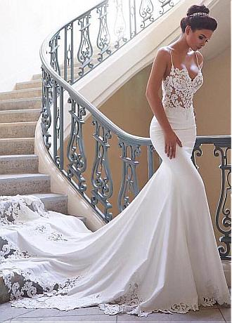 Charming Tulle & Acetate Satin Spaghetti Straps Neckline Mermaid Wedding Dresses With Lace Appliques