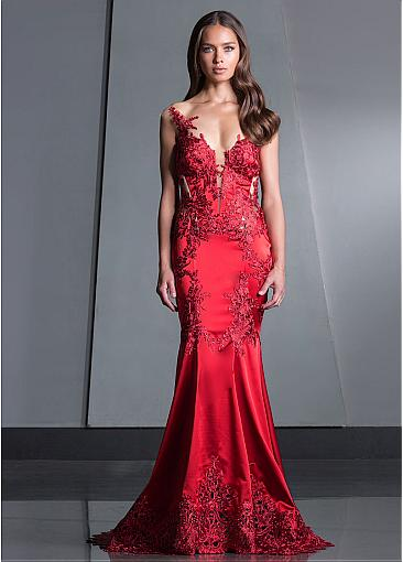Modern Tulle & Satin V-neck Neckline Floor-length Mermaid Evening Dresses With Lace Appliques